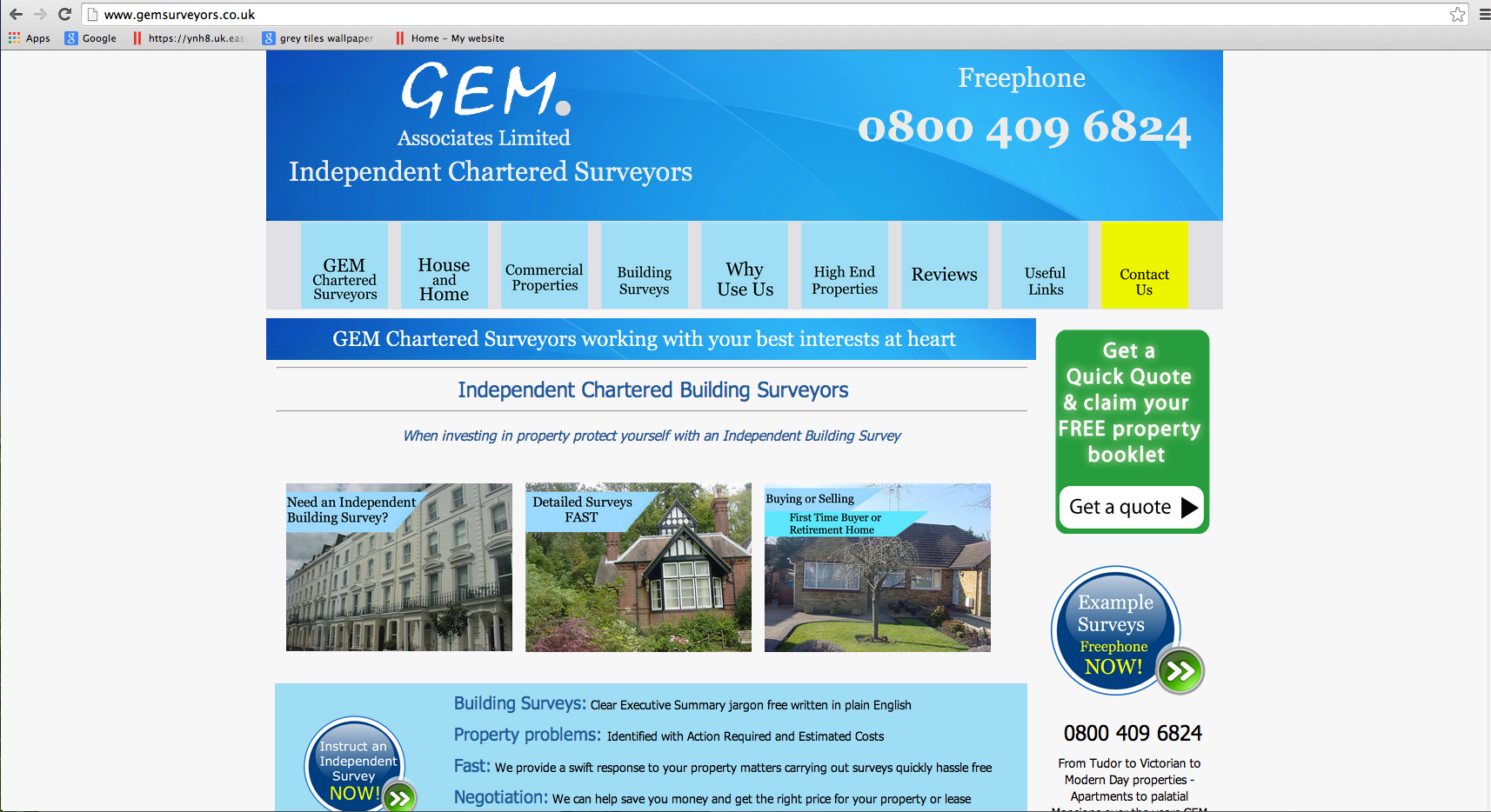 Website Brief -  Take a Look at GEMSurveyors