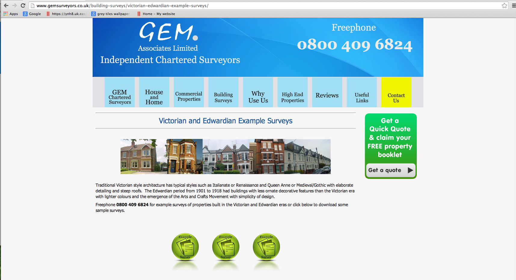 GEM Surveyors - Victorian and Edwardian Example Surveys