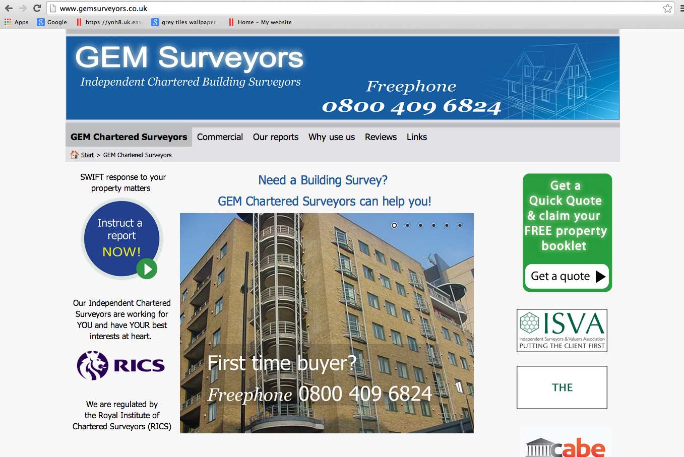 Website Brief - Gem Surveyors